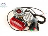 Набор аксессуаров электровелосипеда свет, фара, звуковой сигнал электровелосипеда. Белый.