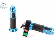 Простая полная универсальная ручка газа электровелосипеда или электроскутера с металлическими вставками. Цвет синий. С кнопкой сигнала и включения.