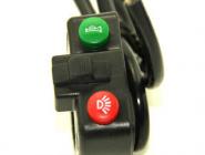 Пульт на руль электровелосипеда универсальный. Одна кнопка без фиксации. Одна кнопка с фиксацией. Один переключатель трехпозиционный.